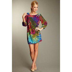 Trina Turk Peacock Retro 3/4 Sleeve Kerry Dress